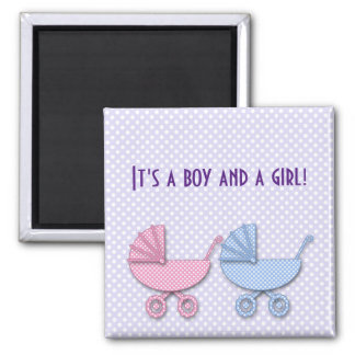twin boy & girl polka dot stroller - gifts 2 inch square magnet