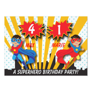 Twin Boy Girl Superhero Birthday Card