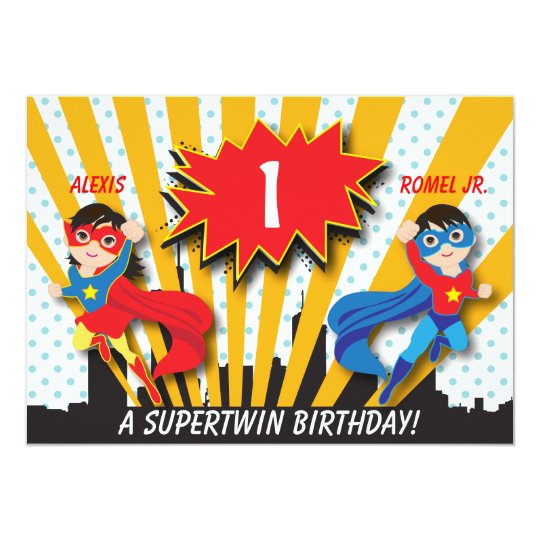 Twin Boy Girl Superhero Birthday Invitation