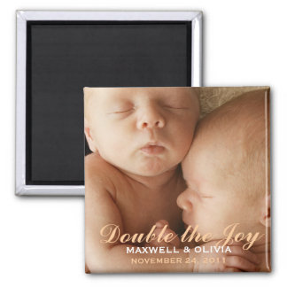 Twin Boy Girl Sweet Photo Announcement Magnet