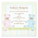 Twin Boy Girl Teddy Bears Baby Shower Invitation