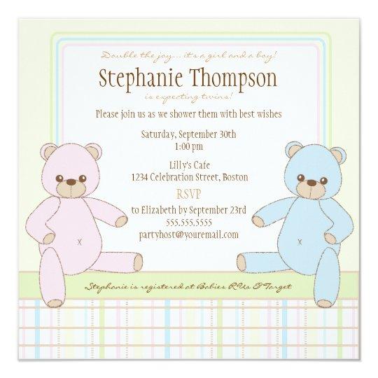 Twin Boy Girl Teddy Bears Baby Shower Invitation Zazzle Com