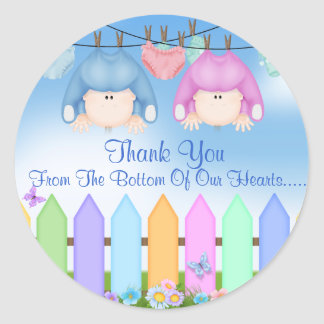 Twin BOY & GIRL THANK YOU FAVORS Baby Shower Classic Round Sticker