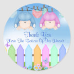 Twin BOY & GIRL THANK YOU FAVORS Baby Shower Round Sticker