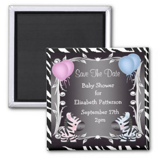 Twin Boy & Girl Zebras Save The Date Baby Shower 2 Inch Square Magnet