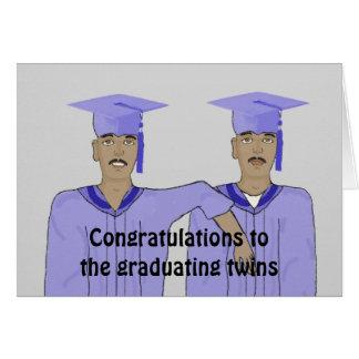 Twin boy graduation Card