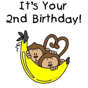 Twin Boy Monkeys 2nd Birthday Card