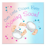Twin Boy n Girl Diaper Butt Baby Shower Invitation