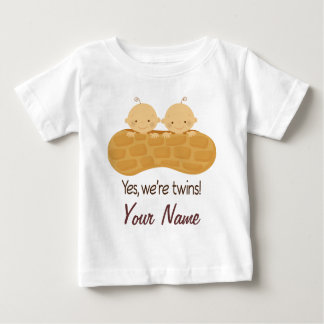 Twin Boy Personalized Babies In A Peanut T-shirt