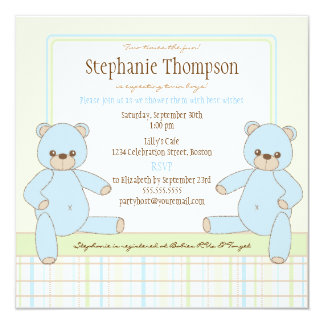 Twin Boy Teddy Bears Baby Shower Invitation