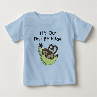 Twin Boys 1st Birthday Monkey Tshirts and Gifts