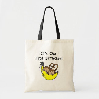 Twin Boys 1st Birthday Monkey Tshirts and Gifts Tote Bags