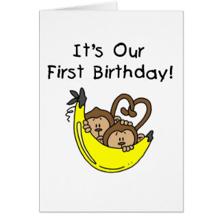 Twin Boys 1st Birthday Monkey Tshirts and Gifts Card