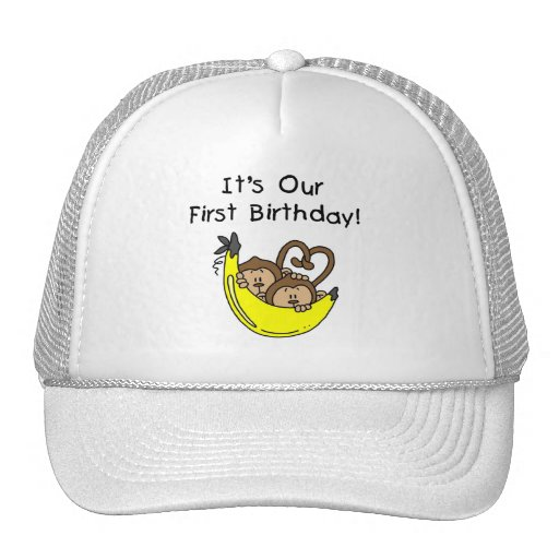 Twin Boys 1st Birthday Monkey Tshirts and Gifts Mesh Hat