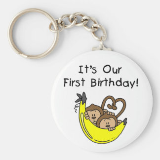Twin Boys 1st Birthday Monkey Tshirts and Gifts Key Chain