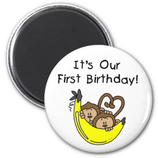 Twin Boys 1st Birthday Monkey Tshirts and Gifts Magnet