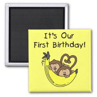 Twin Boys 1st Birthday Monkey Tshirts and Gifts Fridge Magnets