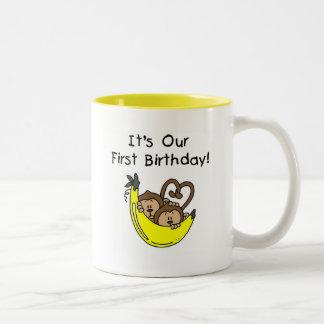 Twin Boys 1st Birthday Monkey Tshirts and Gifts Coffee Mug