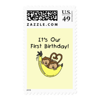 Twin Boys 1st Birthday Monkey Tshirts and Gifts Postage Stamps