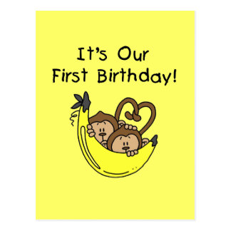 Twin Boys 1st Birthday Monkey Tshirts and Gifts Postcard