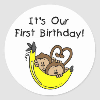 Twin Boys 1st Birthday Monkey Tshirts and Gifts Round Sticker
