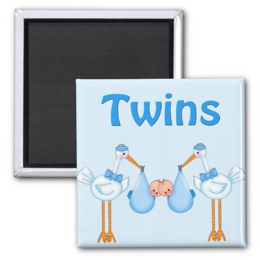 Twin Boys 2 Inch Square Magnet