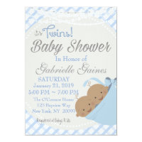 Twin Boys African American Baby Shower Invitation