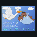 """Twin Boys B - Stork Keepsake Yard Sign<br><div class=""""desc"""">Features a blue gradient with clouds and a stork carrying twin Black American baby boys. The baby boys have dark hair and pacifiers in a blue blanket with white polka dots. Blue stylized Blue stylized text is It&#39;s Twins! Additional text is set up for the baby&#39;s name, birthday, and time...</div>"""