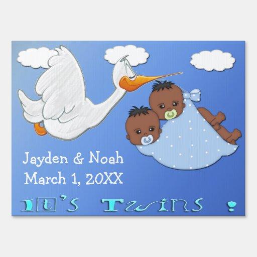 Twin Boys B - Stork Keepsake Yard Sign