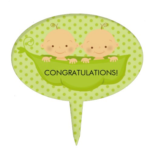 Twin Boys Baby Shower Cake Topper