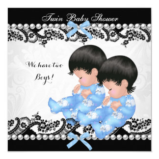 Twin Boys Baby Shower Cute Boy Blue 5.25x5.25 Square Paper Invitation Card