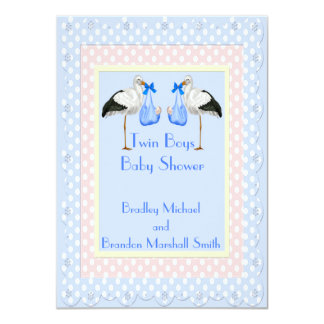 Twin Boys Baby Shower 4.5x6.25 Paper Invitation Card