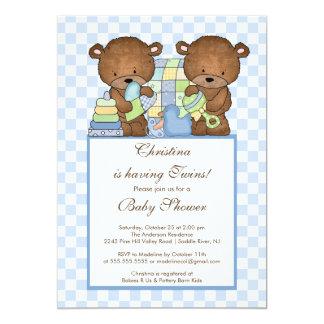 Twin Boys Baby Shower Invitation Bears Blue