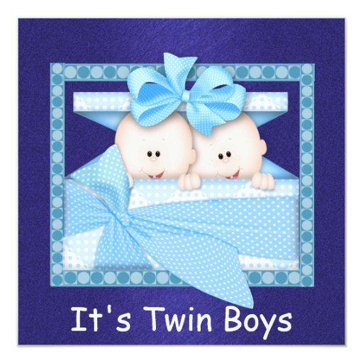Twin BOYS Baby Shower Invitations