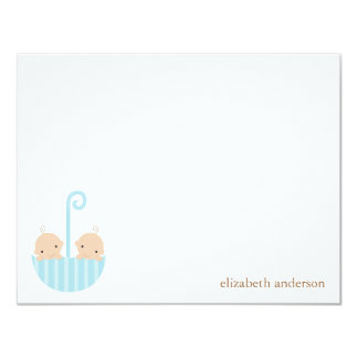 Twin Boys Baby Shower Thank You Cards