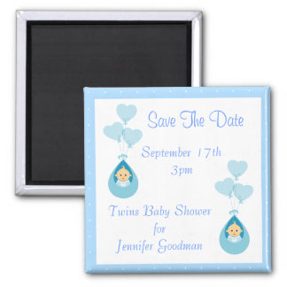 Twin Boys & Balloons Save The Date Baby Shower 2 Inch Square Magnet