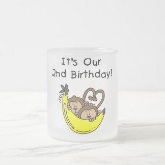 Twin Boys Banana Monkey 2nd Birthday 10 Oz Frosted Glass Coffee Mug