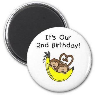Twin Boys Banana Monkey 2nd Birthday 2 Inch Round Magnet