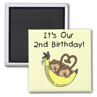 Twin Boys Banana Monkey 2nd Birthday 2 Inch Square Magnet