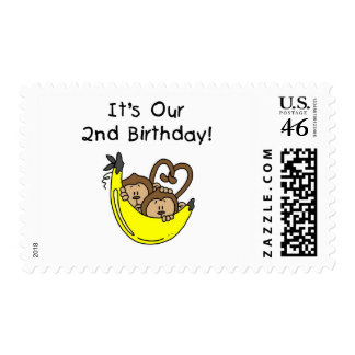 Twin Boys Banana Monkey 2nd Birthday Stamps
