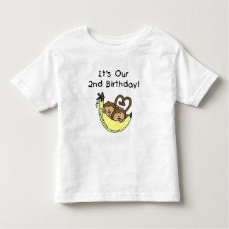 Twin Boys Banana Monkey 2nd Birthday Toddler T-shirt