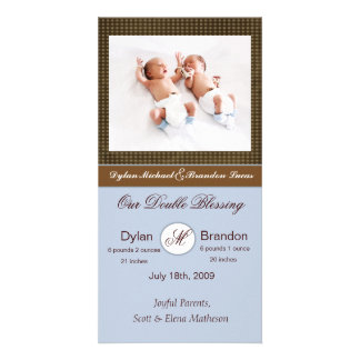 Twin Boys Birth Announcement Picture Card