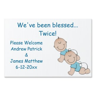 Twin Boys Birth Announcement Sign
