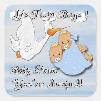 Twin Boys Blonde - Stork Baby Shower envelope seal