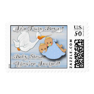 Twin Boys Blonde - Stork Baby Shower Postage