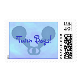 Twin Boys! Blue Baby Rattles, postage stamps
