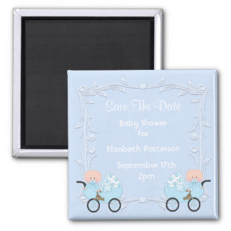 Twin Boys Blue Baby Shower Save The Date 2 Inch Square Magnet