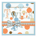 TWIN BOYS Blue Orange Brown Dots Baby Shower Card