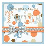 TWIN BOYS Blue Orange Brown Dots Baby Shower Invitation