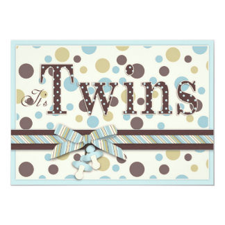 TWIN BOYS Blue Sage Brown Dots Baby Shower 5x7 Paper Invitation Card
